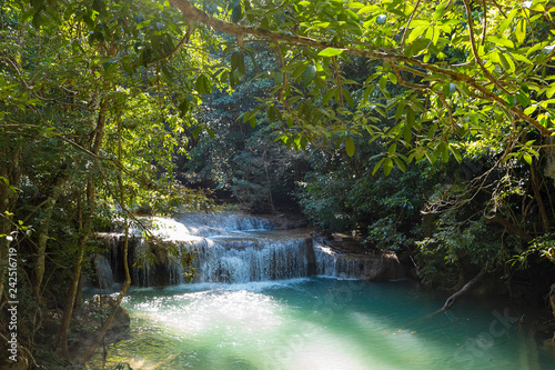 Fototapety, obrazy: Jangle landscape with flowing turquoise water of Erawan cascade waterfall