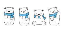 Bear Vector Polar Bear Scarf Cartoon Character Icon Logo Symbol Illustration Doodle White