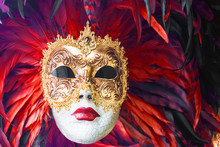 Venetian Masks Decorated With Feathers