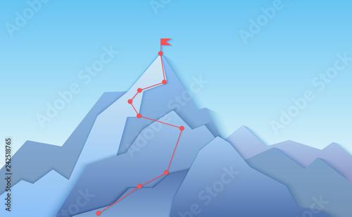 Fotografia Mountain climbing route to peak landscape