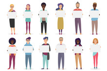 Different Positive Smiling People Are Holding Placards For Text. A Sheet Of Paper In The Hands Of Man And Woman Set Vector Illustration.