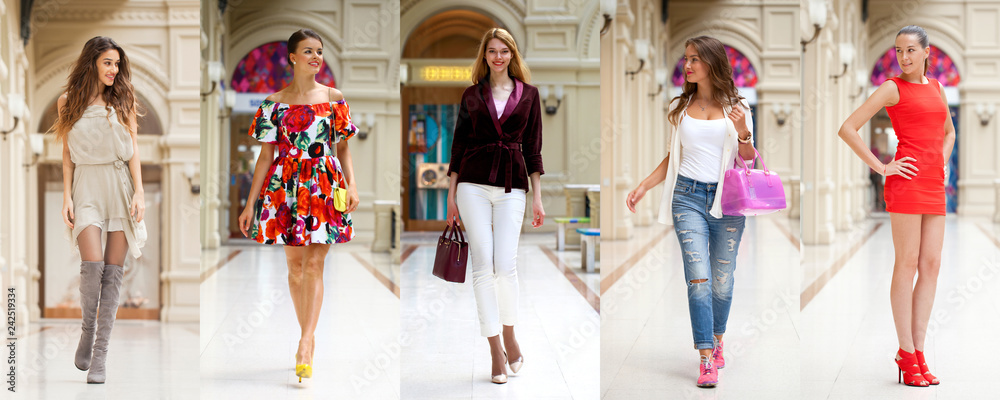 Fototapety, obrazy: Collage of five different young women in bright fashionable clothes
