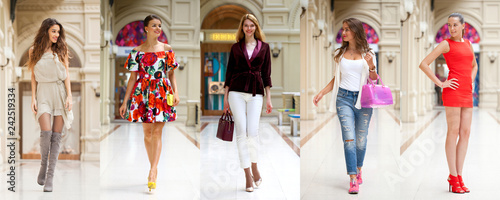 Collage of five different young women in bright fashionable clothes - fototapety na wymiar