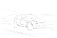 Range Rover Evoque SUV Car Line Drawing