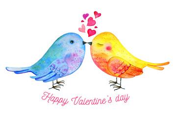 Fototapeta Do pokoju dziecka Love birds couple with hearts and wishing. Hand drawn watercolor illustration for St Valentine's day