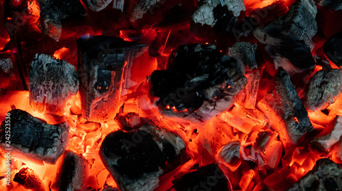 obraz lub plakat Burning embers close up