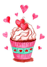 Watercolor Cupcake With Hearts...