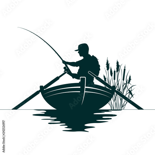 Cuadros en Lienzo Fisherman with a fishing rod in the boat and reeds