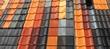canvas print picture - Neue Dachziegel in verschiedenen Farben