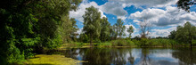 River And Forest Along The River Bank, Countryside, Panorama. Web Banner.