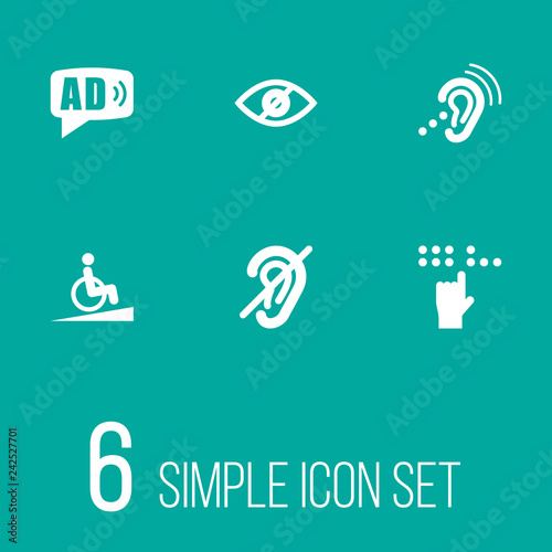 Set of 6 accessibility icons set Canvas Print