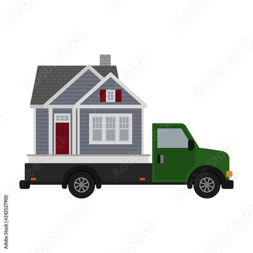 Moving Day House and Truck Illustration - Green moving truck