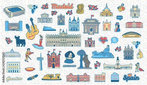 Fotografia  Madrid (Spain) inspired colorful hand drawn landmarks and symbols set