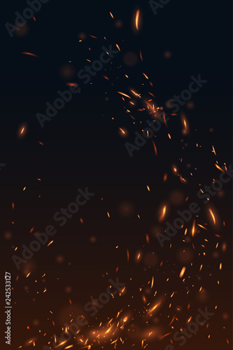 Fire flying sparks background