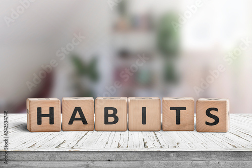 Fototapeta What is your habits? Sign with the word habits