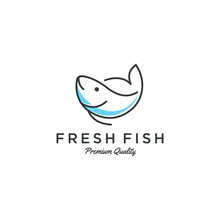 Fish Logo Seafood Badge Design...