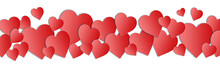 Valentines Day Paper Art Hearts Isolated On White Background. Valentines Day Heart Border