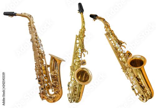 Obraz classical wind musical instrument saxophone isolated on white background - fototapety do salonu
