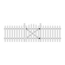 White Picket Fence And Gate Illustration - Traditional White Picket Fence With Gate On Black Hinges Representing American Dream Of Suburbia
