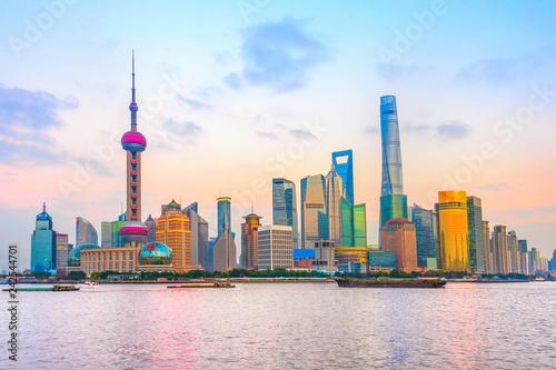 Foto op Aluminium Aziatische Plekken Shanghai metropolis skyline at sunset