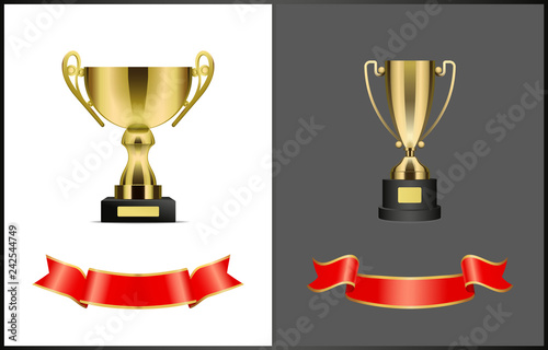 Fotografie, Obraz  Gilded Contest or Competition Awards and Ribbons