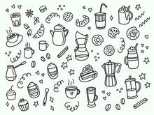 Coffee Hand Drawn Outline Set