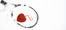 Red Heart On Tennis Racket On ...
