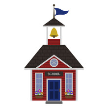 Red Schoolhouse Illustration -...