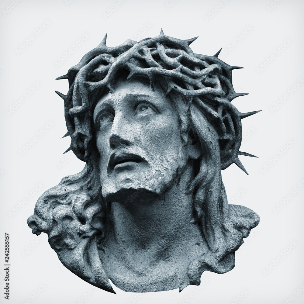 Fototapety, obrazy: Antique statue of Jesus Christ crown of thorns against white background.