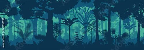 Vászonkép Vector horizontal seamless tropical rainforest Jungle background