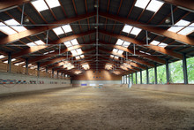 Panoramic View Of An Empty Indoor Horse Riding Arena