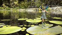 Illustration Of A Tiny Winged Fairy Dancing Upon A Lily Pad In A Stream With A Forest In The Background.