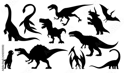 Photo  Dinosaur silhouettes set. Vector illustration isolated on white