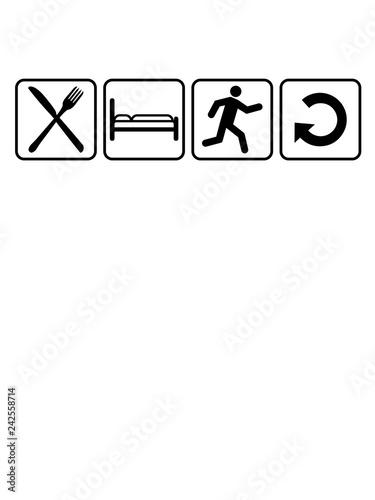 b2f6040c6f eat sleep run repeat wiederholen essen schlafen tag cool piktogramm gehen  schnell rennen wettrennen logo clipart