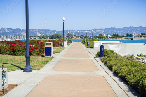 Fotografie, Tablou Paved walking path close to Richmond Marina, San Francisco bay trail, California