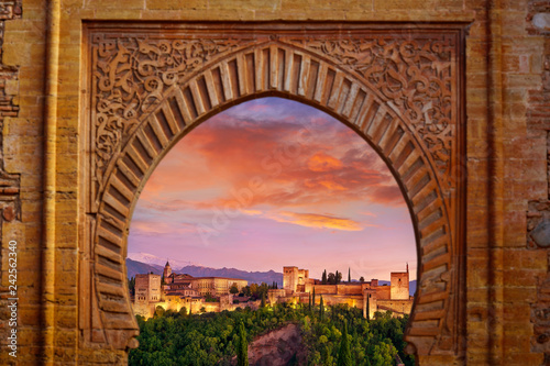 Alhambra arch Granada illustration mount Canvas