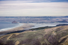 View Towards Morro Rock And Morro Bay State Park As Seen From Montana De Oro State Park; A Layer Of Fog Is Covering Morro Bay; California