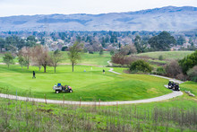View Towards Golf Course From The Trails Of ACounty Park, San Jose, South San Francisco Bay