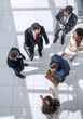 top view.a group of business people standing on a marble floor.