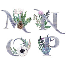 Decorative Floral Alphabet With Silver Letters And Watercolor Botanical Decoration.