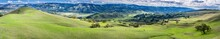 Beautiful Panoramic View Of The Green Hills South Of San Jose, South San Francisco Bay Area, California