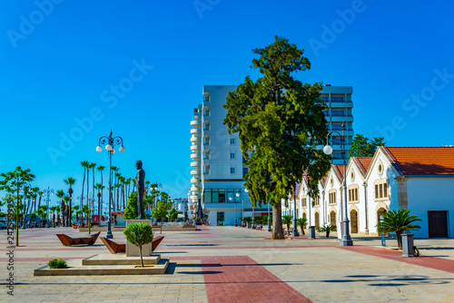 In de dag View of the municipal art gallery at Larnaca, Cyprus