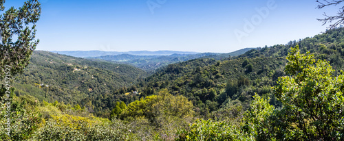 Photo  Panorama in Santa Cruz mountains from a vista point in Uvas Canyon county park,