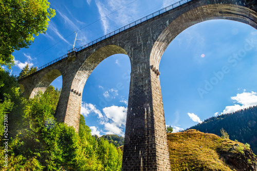 Cuadros en Lienzo  Arched railroad train overpass through the Black Forest in Germany
