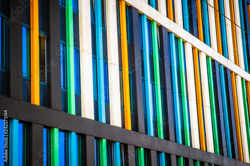 Fotografie, Obraz  Architectural details on modern building exterior with colorful geometric lines