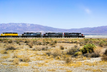 Train Engines Stopped On The Tracks Going Through Searles Valley, Mojave Desert, California