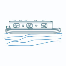 Editable Side View Floating Canal Boat On Wavy Water Vector Illustration In Outline Style For Artwork Element Of Transportation Or Recreation Of United Kingdom Or Europe Related Design