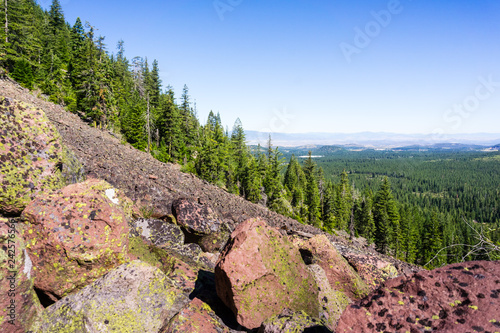 Fotografie, Obraz  Rocky landscape with evergreen forests in the background, Siskiyou County, North