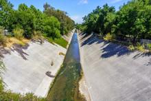 Los Gatos Creek Running Low On A Hot Summer Day, South San Francisco Bay Area, California