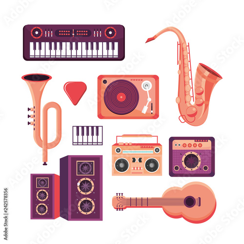Photo sur Aluminium Art abstrait set professional instruments to play in the music festival